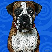 Boxer Mixed Media Metal Prints - Boxer Metal Print by Bibi Romer