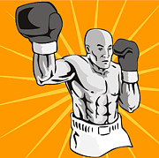 Boxer Digital Art Metal Prints - Boxer Boxing Knockout Punch Retro Metal Print by Aloysius Patrimonio