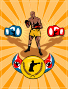 Boxer Digital Art Metal Prints - Boxer Boxing poster Metal Print by Aloysius Patrimonio