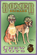Boxer Pastels Framed Prints - Boxer Brigade Chew Toys Framed Print by Amelia Hunter