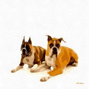 Boxer Painting Prints - Boxer Buddies Print by Elizabeth Coats