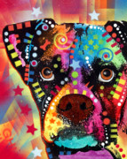 Dog Portrait Prints - Boxer Cubism Print by Dean Russo