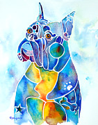 Boxer Dog Art Paintings - Boxer Dog Breed Blues by Jo Lynch