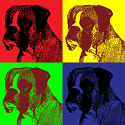 Boxer Digital Art Posters - Boxer Dog Pop Art Style Poster by Jim Bryson