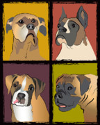 Boxer Digital Art Posters - Boxer Dog Portraits Poster by Robyn Saunders