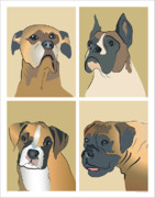 Puppy Digital Art - Boxer Dogs 4 up by Robyn Saunders