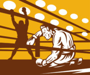 Knockdown Prints - Boxer down on his hunches Print by Aloysius Patrimonio