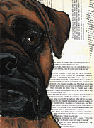Boxer Dog Art Paintings - Boxer Half Face by Christas Designs