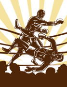 Woodcut Posters - Boxer knocking out Poster by Aloysius Patrimonio