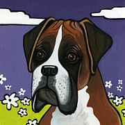 Dog Breeds Paintings - Boxer by Leanne Wilkes