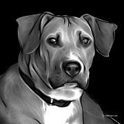 Boxer Pitbull Mix Pop Art - Greyscale Print by James Ahn