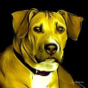Boxer Digital Art - Boxer Pitbull Mix Pop Art - Yellow by James Ahn