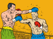 Retro Style Framed Prints - Boxer punching Framed Print by Aloysius Patrimonio