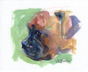 Boxer Portrait Paintings - Boxer Pup by Kimberly Santini
