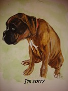 Cute Glass Art Posters - Boxer Puppy Poster by Carol Blackhurst