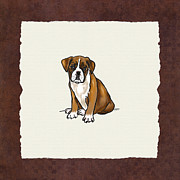 Boxer Puppy Framed Prints - Boxer Puppy  Framed Print by Jai Johnson