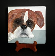 Dog Sculptures - Boxer Puppy by Suzanne Schaefer