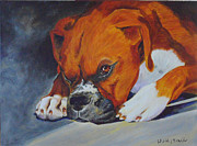 Boxer Painting Prints - Boxer relaxing Print by Laura Bolle