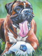 Boxer Puppy Paintings - Boxer Soccer by Lee Ann Shepard