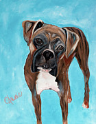 Boxer Painting Prints - Boxer Striped Print by Chrissie Leander