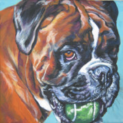 Boxer Puppy Paintings - Boxer Tennis by Lee Ann Shepard