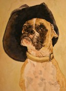 Boxer Puppy Paintings - Boxer by Theresa Higby