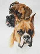 Dogs Mixed Media - Boxers by Barbara Keith