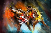 Art Miki Digital Art Prints - Boxing 01 Print by Miki De Goodaboom