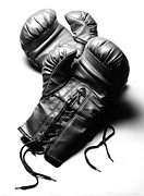 Boxing  Photo Prints - Boxing Gloves in Black andWhite Print by Rebecca Brittain