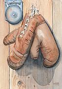 Boxing Paintings - Boxing Gloves by Ken Powers