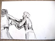 Boxing Drawings - Boxing by Luxmi Benjamin
