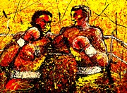 Boxing Gloves Painting Prints - Boxing Match  Print by Artist  Singh