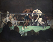 Match Painting Framed Prints - Boxing Match Framed Print by George Luks