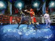 Boxing Framed Prints - Boxing Night Framed Print by Murphy Elliott