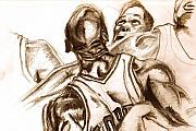 Michael Jordan Drawings - Boxout by Dallas Roquemore
