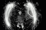 10:11 Prints - Boy (10-12) Making Circles With Sparklers, Outdoors, Portrait (b&w) Print by Hulton Archive