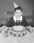 Party Hat Framed Prints - Boy (2-3) In Party Hat With Birthday Cake, (b&w),, Portrait Framed Print by George Marks