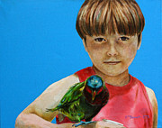 Kathryn M Bennett Prints - Boy and a Bird Print by Kathryn M Bennett