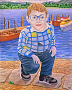 Child Paintings - Boy and Boats by Ronald Haber