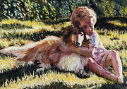 Maureen Dean Framed Prints - Boy and Collie Framed Print by Maureen Dean
