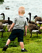 Contemplating Framed Prints - Boy and Geese Framed Print by Betty LaRue