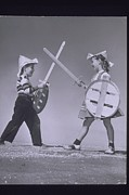 Rough Housing Framed Prints - Boy And Girl (7-10) Crossing Toy Swords (b&w) Framed Print by Archive Holdings Inc.