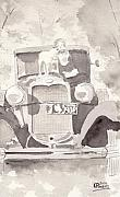 Ford Model T Car Painting Posters - Boy And His Dog On An Old Car Poster by Ken Powers