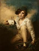 Portraits Oil Framed Prints - Boy and Rabbit Framed Print by Sir Henry Raeburn