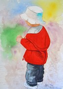 Sweat Painting Framed Prints - Boy at Beach Framed Print by Sharon Mick