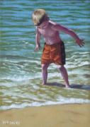 Standing Painting Framed Prints - boy at Bournemouth beach Framed Print by Martin Davey