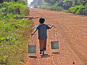 Child Labour Posters - Boy Carrying Drinking Water Poster by Bjorn Svensson