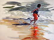Life Jacket Prints - Boy Chases Waves on Beach Print by Christine Montague