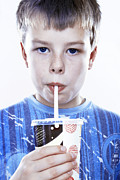Consumer Framed Prints - Boy Drinking A Fizzy Drink Framed Print by Kevin Curtis