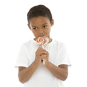 Unhealthy Eating Prints - Boy Eating A Lollipop Print by
